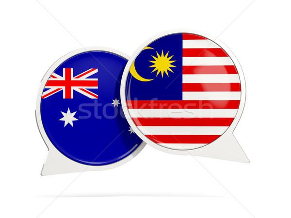 Conversar bubbles Austrália Malásia isolado branco Foto stock © MikhailMishchenko