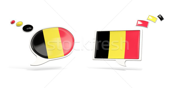 Two chat icons with flag of belgium Stock photo © MikhailMishchenko