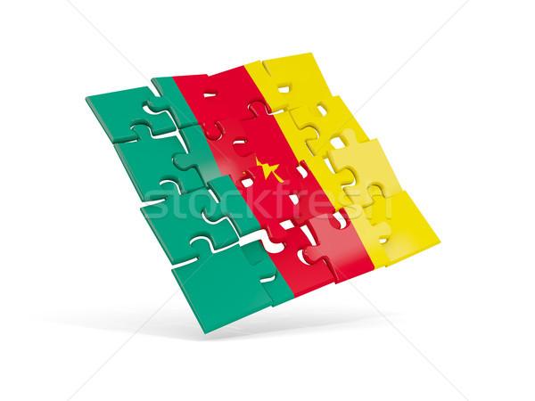 Quebra-cabeça bandeira Camarões isolado branco ilustração 3d Foto stock © MikhailMishchenko