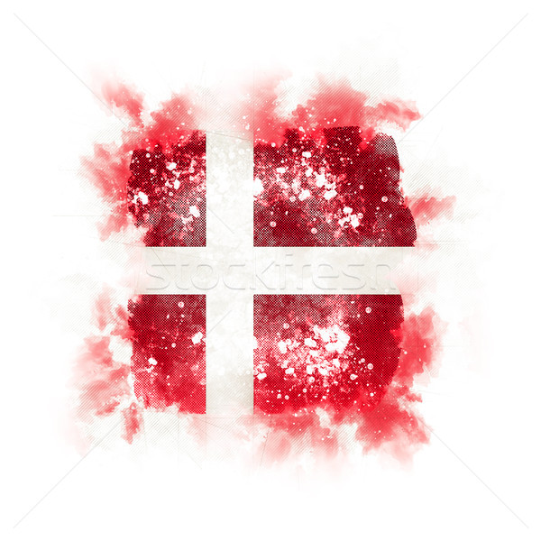 Vierkante grunge vlag Denemarken 3d illustration retro Stockfoto © MikhailMishchenko