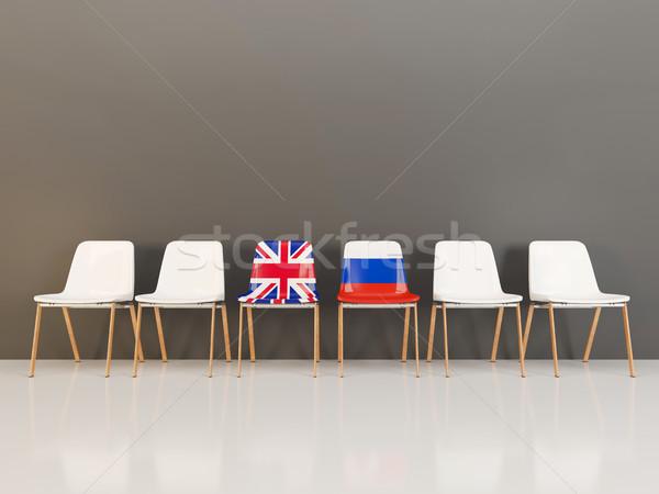 Székek zászló Egyesült Királyság csetepaté 3d illusztráció megbeszélés Stock fotó © MikhailMishchenko