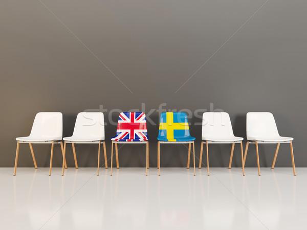 Stoelen vlag Verenigd Koninkrijk Zweden rij 3d illustration Stockfoto © MikhailMishchenko