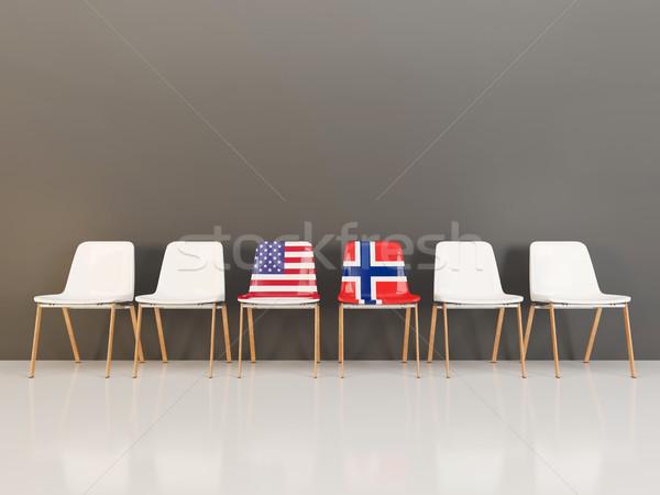 Székek zászló USA Norvégia csetepaté 3d illusztráció Stock fotó © MikhailMishchenko