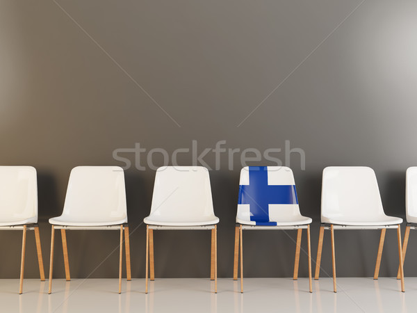 Cadeira bandeira Finlândia branco cadeiras Foto stock © MikhailMishchenko