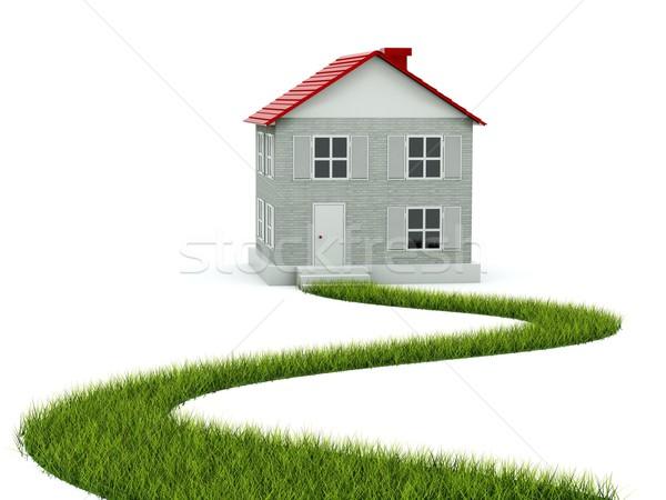 Foto stock: Casa · caminho · grama · isolado · branco · jardim