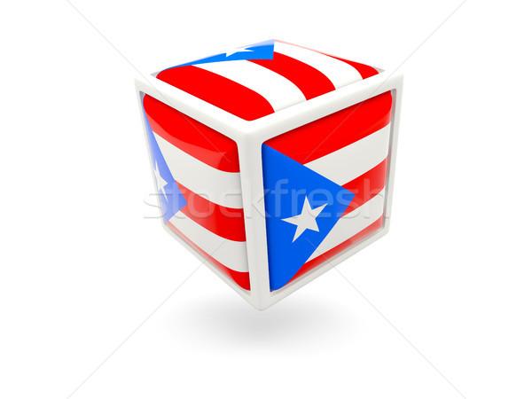 Vlag Puerto Rico kubus icon geïsoleerd witte Stockfoto © MikhailMishchenko