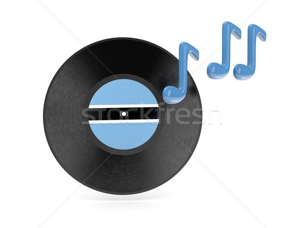 Vinyl schijf vlag Botswana geïsoleerd witte Stockfoto © MikhailMishchenko