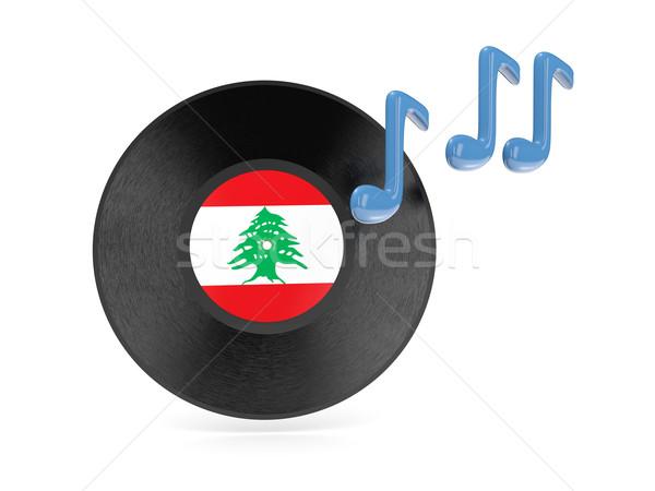 Bakelit lemez zászló Libanon izolált fehér Stock fotó © MikhailMishchenko