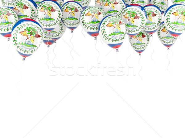 Léggömb keret zászló Belize izolált fehér Stock fotó © MikhailMishchenko
