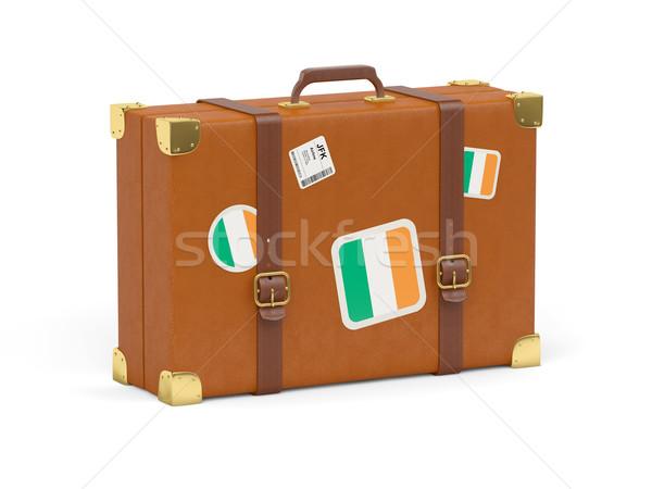 Bavul bayrak İrlanda seyahat yalıtılmış beyaz Stok fotoğraf © MikhailMishchenko