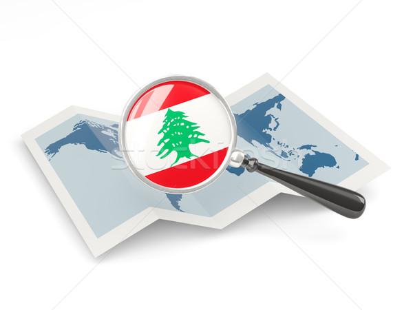 Bayrak Lübnan harita beyaz Stok fotoğraf © MikhailMishchenko