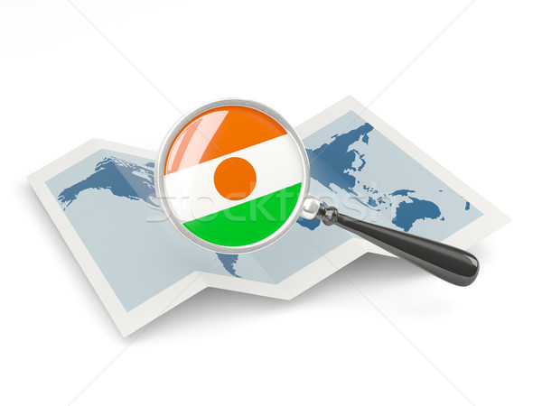 Magnified flag of niger with map Stock photo © MikhailMishchenko