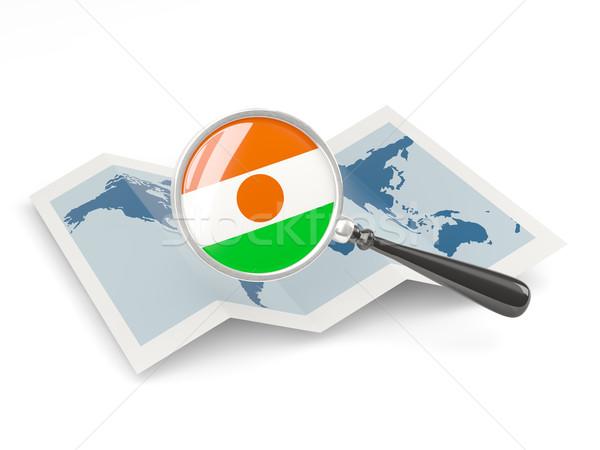Ampliada bandera Níger mapa viaje Foto stock © MikhailMishchenko