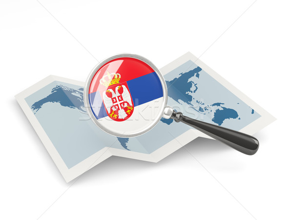 Magnified flag of serbia with map Stock photo © MikhailMishchenko
