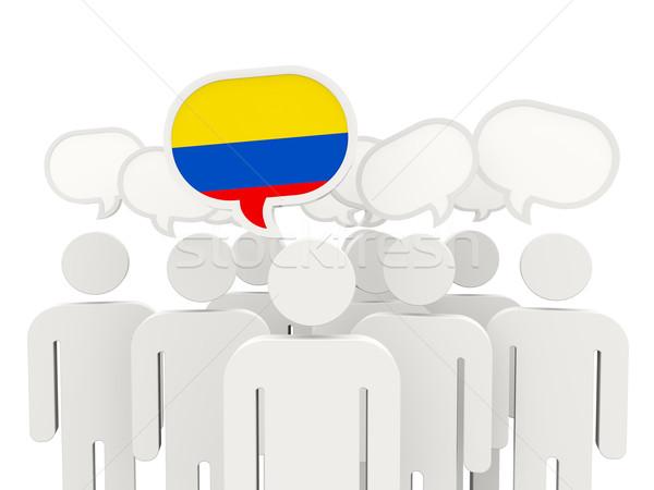 Stockfoto: Mensen · vlag · Colombia · geïsoleerd · witte · vergadering