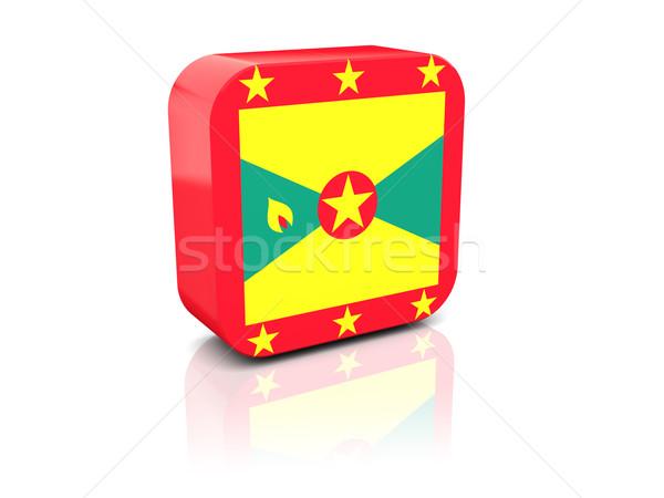 Tér ikon zászló Grenada tükröződés fehér Stock fotó © MikhailMishchenko