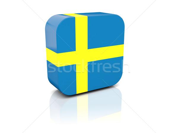 Vierkante icon vlag Zweden reflectie witte Stockfoto © MikhailMishchenko