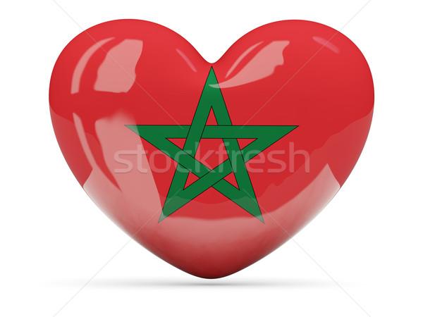 Kalp ikon bayrak Fas yalıtılmış Stok fotoğraf © MikhailMishchenko