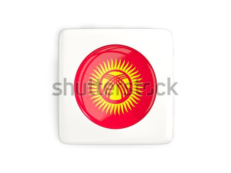 Düğme bayrak Kırgızistan Metal çerçeve seyahat Stok fotoğraf © MikhailMishchenko