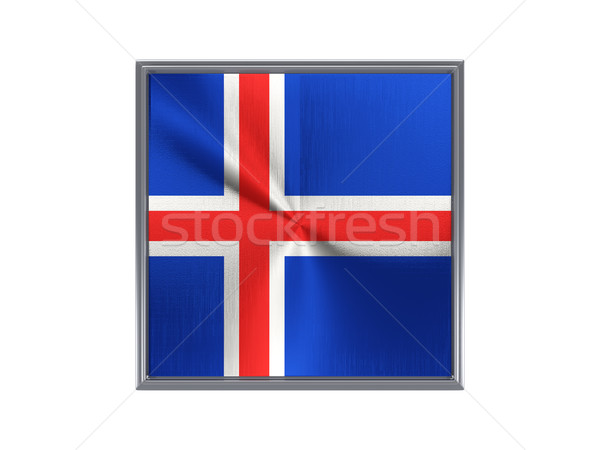 Square metal button with flag of iceland Stock photo © MikhailMishchenko