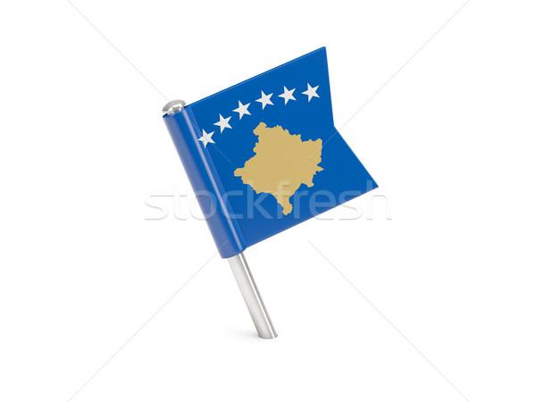 Bandeira pin Kosovo isolado branco Foto stock © MikhailMishchenko