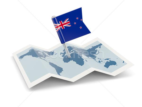 Map with flag of new zealand Stock photo © MikhailMishchenko