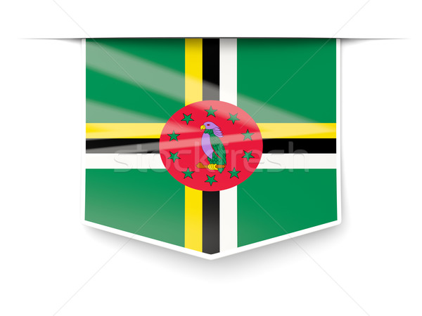 квадратный Label флаг Доминика изолированный белый Сток-фото © MikhailMishchenko