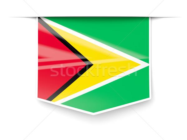 Vierkante label vlag Guyana geïsoleerd witte Stockfoto © MikhailMishchenko