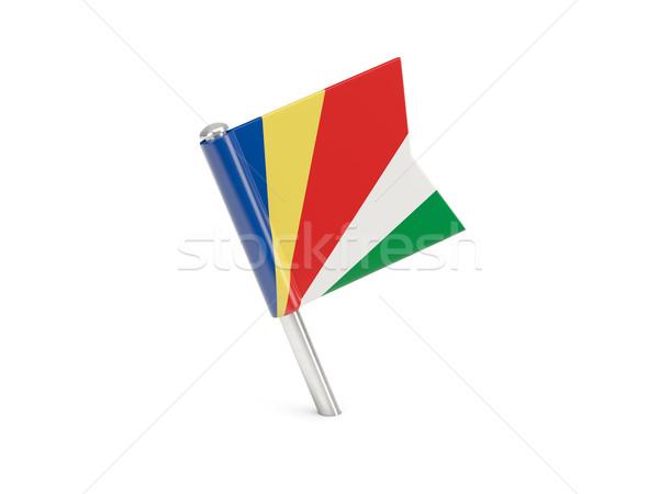 флаг Pin Сейшельские острова изолированный белый Сток-фото © MikhailMishchenko