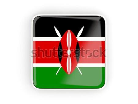 Zászló címke Kenya izolált fehér felirat Stock fotó © MikhailMishchenko