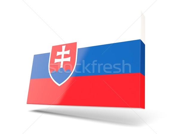 Praça ícone bandeira Eslováquia isolado branco Foto stock © MikhailMishchenko
