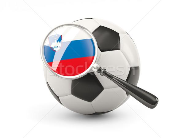 Futball nagyított zászló Szlovénia izolált fehér Stock fotó © MikhailMishchenko
