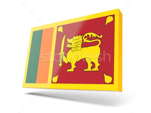 Tér ikon zászló Sri Lanka izolált fehér Stock fotó © MikhailMishchenko