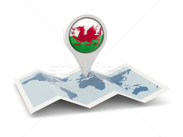 Round pin with flag of wales Stock photo © MikhailMishchenko