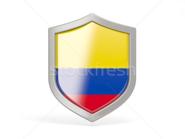 Pajzs ikon zászló Colombia izolált fehér Stock fotó © MikhailMishchenko