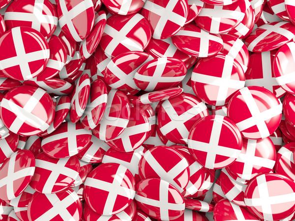 Vlag Denemarken achtergrond reizen land pin Stockfoto © MikhailMishchenko