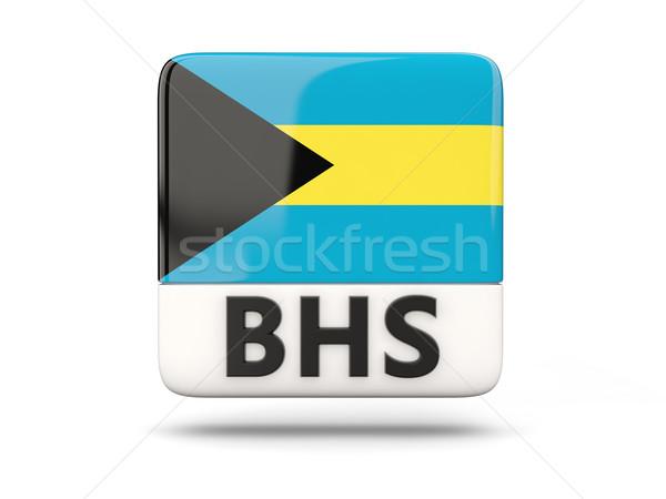 Praça ícone bandeira Bahamas iso código Foto stock © MikhailMishchenko