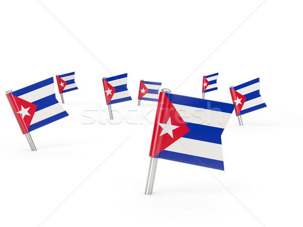 квадратный флаг Куба изолированный белый стране Сток-фото © MikhailMishchenko