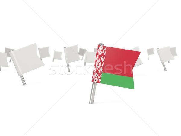 квадратный Pin флаг Беларусь изолированный белый Сток-фото © MikhailMishchenko