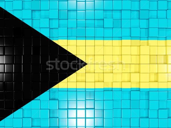 Background with square parts. Flag of bahamas. 3D illustration Stock photo © MikhailMishchenko