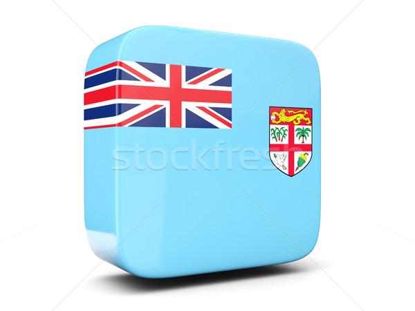 Tér ikon zászló Fidzsi-szigetek 3d illusztráció izolált Stock fotó © MikhailMishchenko
