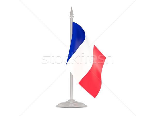 Bandera Francia asta de bandera 3d aislado blanco Foto stock © MikhailMishchenko