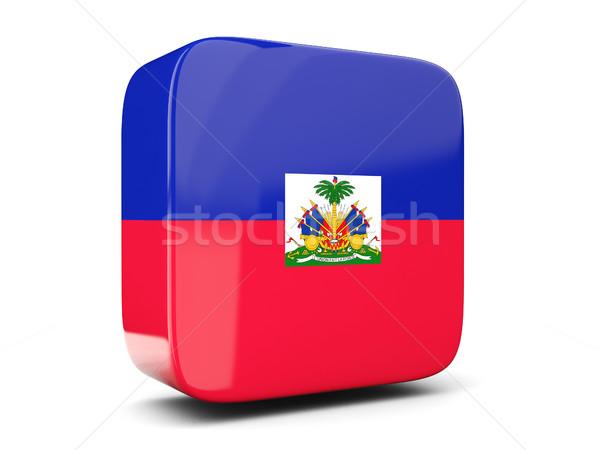 Kare ikon bayrak Haiti 3d illustration yalıtılmış Stok fotoğraf © MikhailMishchenko