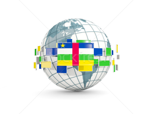 Globe with flag of central african republic isolated on white Stock photo © MikhailMishchenko