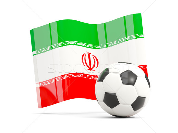 Football with waving flag of iran isolated on white Stock photo © MikhailMishchenko