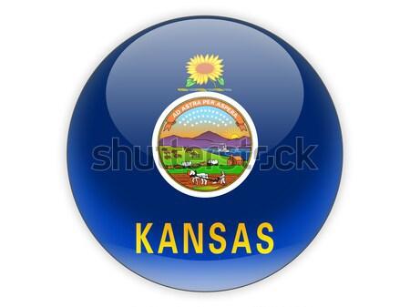 Flag of kansas, US state square icon Stock photo © MikhailMishchenko