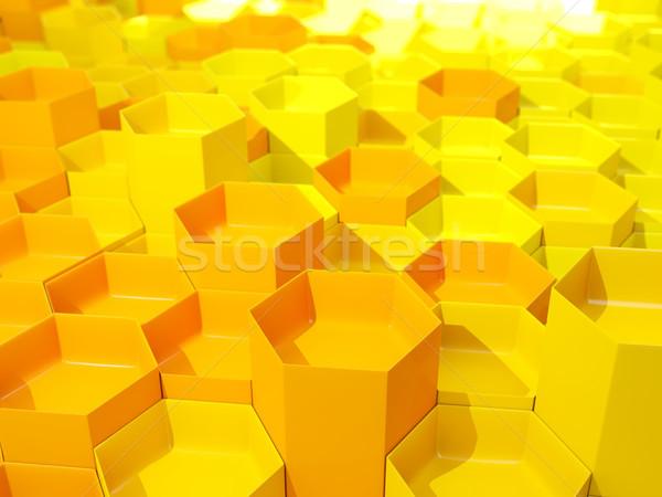 желтый шестиугольник шаблон 3d иллюстрации фон промышленных Сток-фото © MikhailMishchenko