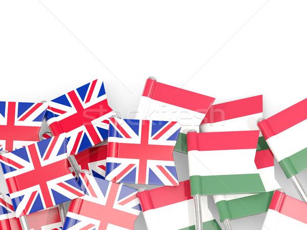 Flag pins of United Kingdom and Hungary isolated on white Stock photo © MikhailMishchenko