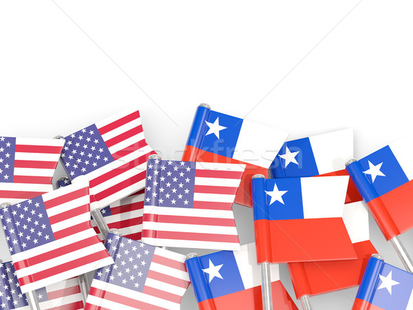 Flag pins of USA and Chile isolated on white. 3D illustration Stock photo © MikhailMishchenko