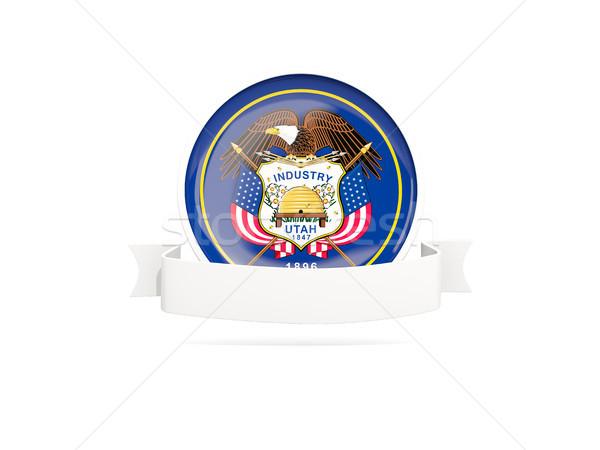 Flag of utah with banner, US state round icon Stock photo © MikhailMishchenko